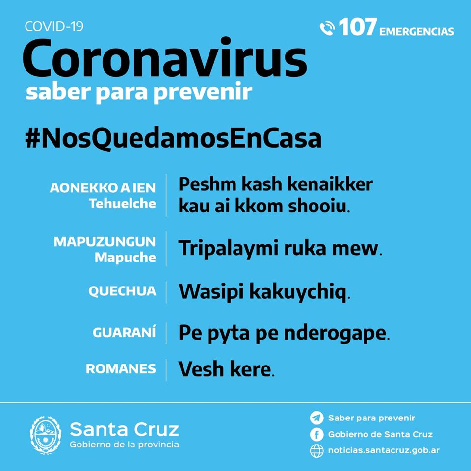 placa lenguas originarias coronavirus